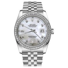 Pre-owned Rolex Datejust White Mother Of Pearl 8+2 Diamond Dial... ($5,499) ❤ liked on Polyvore featuring jewelry, watches, white wrist watch, dial watches, diamond wrist watch, pre owned jewelry and white dial watches