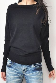Black Boat Neck Long Sleeve Batwing Pullovers ...