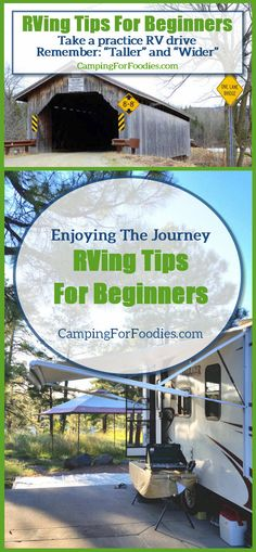 RVing Tips For Beginners To Instantly Turn Pro. Take a practice RV drive and remember you are probably taller and wider than you think; watch for height clearances at underpasses, bridges, low-hanging branches and anything else above your path of travel. Driving a big vehicle might be intimidating but getting comfortable as a driver is important. Camping Hacks, Camping Tips, RV Camping, Tent Camping, Brilliant Camping Ideas