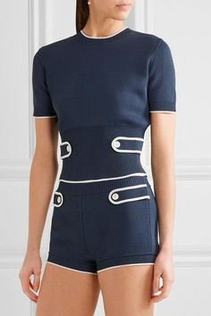 Miu Miu - Stretch-knit Top - Navy - IT38