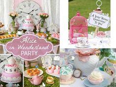 idées de décoration du buffet sucré d'une fête à thème Alice au pays des…
