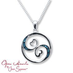 211056205 - Open Hearts Necklace Blue Diamond Accents…