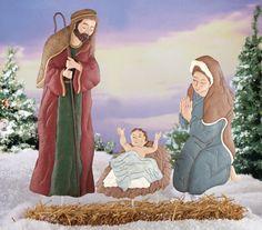 Holy Family Nativity Metal Garden Stakes - Set of 3
