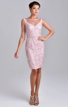 1dea95aa26ea58 Scoop Neckline Sheath Zipper Closure Beaded Neckline knee length lace  mother of the Bride Dress Pink Sliver Short Sleeves