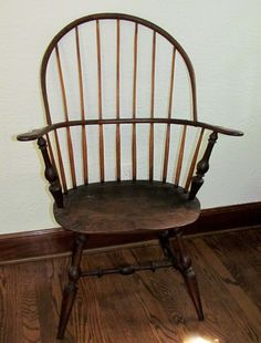ANTIQUE WINDSOR SACK BACK CONTINUOUS ARM CHAIR w/ SADDLE SEAT F.C. HILL ~ SIGNED #Windsor #FCHill