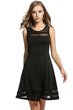 HOTOUCH Womens Summer Chiffon Sleeveless Party Dress Black S ** Learn more by visiting the image link.