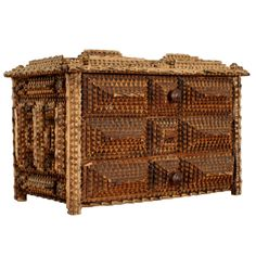 Diminutive Tramp Art Set of Drawers - French ca. 1900 | From a unique collection of antique and modern decorative boxes at http://www.1stdibs.com/furniture/more-furniture-collectibles/decorative-boxes/
