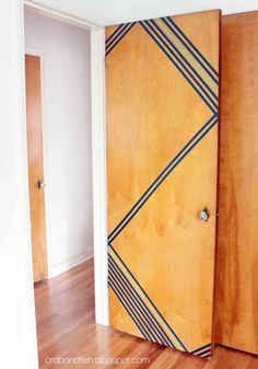 Removable washi tape makes a boring door instantly welcoming — without causing any lasting damage. Get the tutorial at Crab + Fish »  - GoodHousekeeping.com