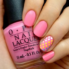 Pink and Candy Dot Accent Nail Mani #tutorial