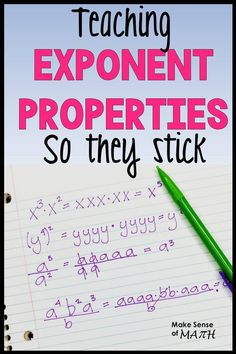 Looking for ideas to teach exponent properties and exponent rules? These are great ideas so that your grade math and Algebra students understand the rules to simplify exponents. Read on for my ideas! Algebra Activities, Maths Algebra, Math Resources, Algebra Projects, Algebra 1 Textbook, Math 8, High School Activities, Math Fractions, Calculus