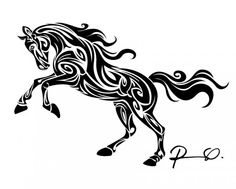 Arabian Horse Decal Tribal Tattoo Design Celtic Equine Window Sticker Small Pink