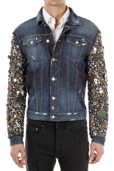 DSQUARED2 Dsquared² MEN NEW Blue Jeans Jacket Studded Sleeves Made IN Italy | eBay