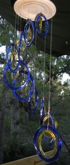 BLUE OVAL windchimes made from RECYCLED bottles