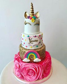 large pink roses, gold layer with rainbow, unicorn cake pictures, gold horn and ears Unicorn Birthday Parties, 10th Birthday, Girl Birthday, Birthday Cake, Birthday Ideas, Beautiful Cakes, Amazing Cakes, Bolo Fack, Savoury Cake