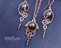 Shiny copper earrings and pendant set wire wrapped by WireColibri