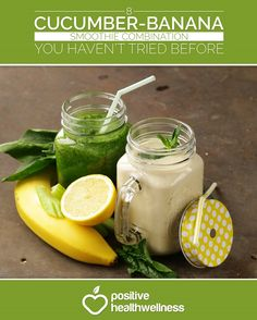 8 Cucumber-Banana Smoothie Combination You Haven't Tried Before - Positive Health Wellness Cucumber Smoothie, Veggie Smoothies, Smoothies For Kids, Smoothie Recipes, Snack Recipes, Protein Smoothies, Breakfast Recipes, Healthy Juices, Healthy Snacks