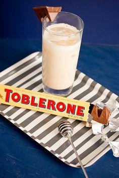 Toblerone Cocktail (3 oz milk 1 oz Frangelico 1 oz Irish cream 1 oz coffee liqueur 1 tsp honey)