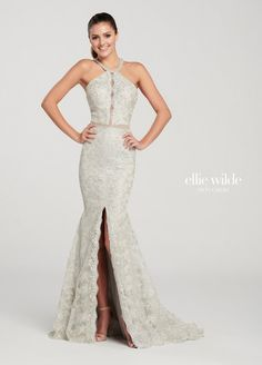 2a75595cfeb8 Ellie Wilde EW119137 Beautiful Strappy Back Lace Gown