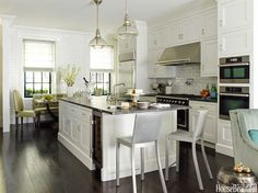 What was once a parlor has been transformed into a spacious, gleaming kitchen that is the heart of the house.