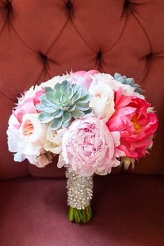 peonies and succulents bridal bouquet - how do you not fall in love?!