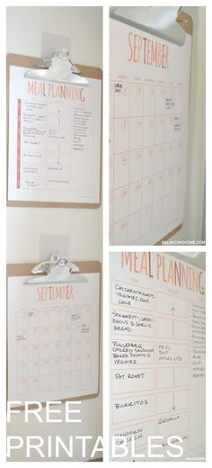 free meal plan calendar printable