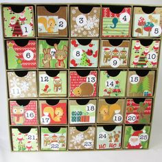 Advent Countdown Calendar Woodland Animals Christmas Mini Drawers Keepsake Heirloom Made in USA
