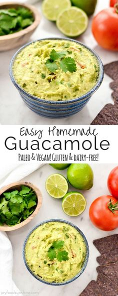 This Easy Homemade Guacamole is a recipe every cook needs in their tool belt! Made with a few, totally healthy ingredients this dip is the perfect addition to your taco nights or super bowl parties! Plus it's vegan, paleo, gluten-free, dairy-free, oil-free and sugar free!