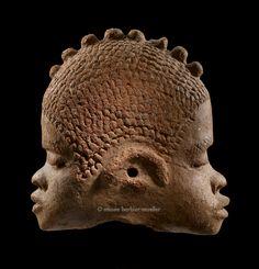 Katsina janus terracotta head, Nigeria. ca. (500 B.C.E. – 200 C.E.)