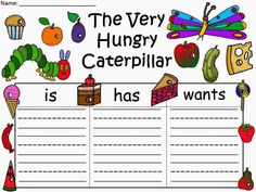 "Free: The Very Hungry Caterpillar Graphic Organizer based on the story by Eric Carle.  ......Follow for Free ""too-neat-not to-keep"" teaching tools & other fun stuff :)"
