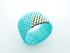Beautiful Blue&Gold teal beaded Ring @JeannieRichard #jewelry #ring #turquoise #accessories #woman #fashion $18