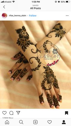Henna Hand Designs, Pretty Henna Designs, Latest Arabic Mehndi Designs, Mehndi Designs Finger, Floral Henna Designs, Henna Tattoo Designs Simple, Latest Bridal Mehndi Designs, Mehndi Designs Book, Modern Mehndi Designs