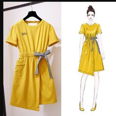 Large Size Female Fat Mm New Fat Sister Loaded With Foreign Gas Cover Belly Tibetan Meat Ageing Cotton And Linen Bow Dre Kpop Fashion Outfits, Girls Fashion Clothes, Korean Outfits, Mode Outfits, Casual Outfits, Fashion Drawing Dresses, Fashion Illustration Dresses, Fashion Dresses, Fashion Poses