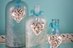 Great wedding table idea!  Beach Decor Seashell Heart Ornaments - Set of 3 Glass Heart Shape Ornaments on Etsy, $18.00