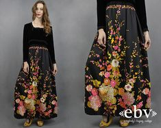 c516d189da Velvet Maxi Dress Floral Maxi Dress 1970s Maxi Dress 70s Maxi Dress 70s  Party Dress Hippie