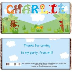 Personalised Chocolate Bar for Boys - Animal Alphabet  from Personalised Gifts Shop - ONLY £5.99
