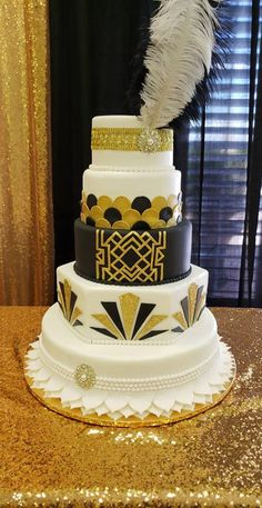 The Great Gatsby Theme Custom Cake Wedding Sweets, Wedding Cakes, Great Gatsby Cake, Art Deco Cake, Quince Cakes, Quinceanera Themes, Cake Decorating Techniques, Custom Cakes, Decoration