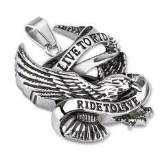 Ride to Live- Classic biker live to ride to live black and silver carved stainless steel eagle pendant Sons Of Anarchy, Steel Jewelry, Fine Jewelry, Jewellery, Cordon En Cuir, Titanium Jewelry, Biker Rings, Skull Pendant, Matching Rings