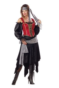 #3001 Argh matey! Search for buried treasure this Halloween as the Pirate Lady. The Pirate Lady Costume includes a red and black satin and panne dress trimmed with lace-up gold trimmed corset bodice a