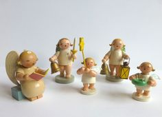 Wendt & Kuhn Germany Lot of Wooden Angels Tabletop Decorations