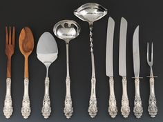 "Sterling silver serving pieces in ""Crown Baroque"" by Gorham"
