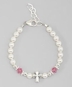 Crystal Dream Baptism Swarovski White Simulated Pearls Pink Crystals Sterling Silver Cross Bead Baby Bracelet (BSCHP)  http://stylexotic.com/crystal-dream-baptism-swarovski-white-simulated-pearls-pink-crystals-sterling-silver-cross-bead-baby-bracelet-bschp/