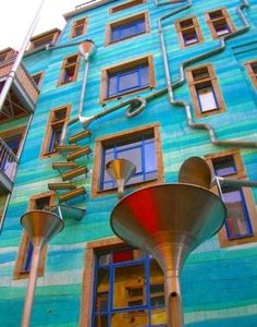 This building is located in Dresden, Germany. It's called Neustadt Kunsthofpassage. And when it rains it starts to play music. This building is located in - Creative, Interesting - Check out: A Building That Plays Music When It Rains on Barnorama Oh The Places You'll Go, Places To Travel, Places To Visit, Beautiful World, Beautiful Places, Amazing Places, When It Rains, To Infinity And Beyond, Gaudi
