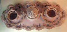 Pink Porcelain Rosa Porzellan Hand Painted Tea Set Tray Sugar Cups Saucers Czech