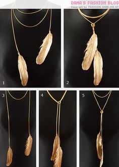 "threadpaperscissors: "" Gold Father Necklace Tutorial This is trendy, easy to make, and there are 5 different ways to wear it. I found it on Dana's blog and just an fyi, the tutorial is in German...."