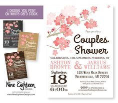 Cherry Blossom Couples Shower invitation. by NineEighteenWeddings Custom designed party invitation by Nine Eighteen Designs. I design and you print on regular white card stock. Visit my etsy stores for all your party printable needs. #NineEighteenDesigns #HereComesTheBride #WeddingShower #BridalShower #GoingToTheChapel #DIYBride #CouplesShower #EngagementParty #PrintableInvitation