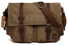 Buy Men's Shoulder Bag Vintage Military Canvas Leather Messenger Laptop School Cross Bag - Yellow - and find your ideal Men Messenger Bags at affordable prices and fast shipping. Canvas Laptop Bag, Canvas Crossbody Bag, Canvas Messenger Bag, Messenger Backpack, Canvas Backpack, Laptop Bags, Military Messenger Bag, Vintage Messenger Bag, Leather Camera Bag