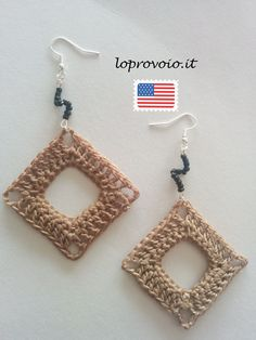 Crochet empty square earrings