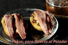 Pincho de patatas asadas con pesto y anchoas