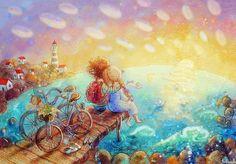 Просмотреть иллюстрацию у моря из сообщества русскоязычных художников автора Столбова Анастасия в стилях: Детский, Живопись, нарисованная техниками: Акварель, Компьютерная графика, Смешанная техника.