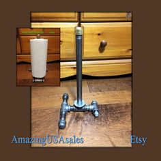 Industrial furniture paper towel holder - free standing steampunk iron pipe - standup - stand up paper towel holder. Ready to ship now. $26.99
